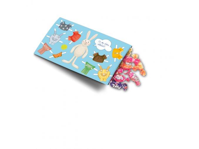 Pohled s dárkem - dětský motiv - králík