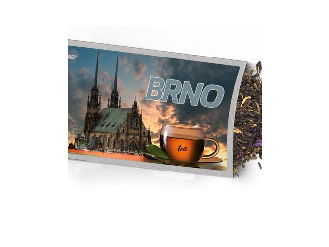 Pohled s dárkem Brno kostel