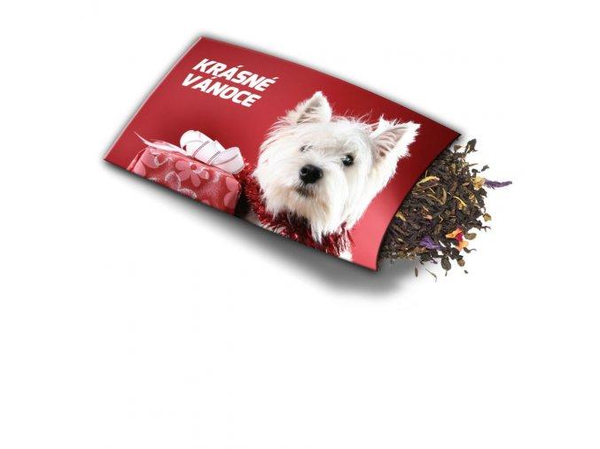 Pohled s dárkem Krásné Vánoce Pes