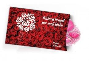 Pohled s dárkem - Růžová koupel
