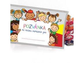 Pohled s dárkem - Pozvánka dětská oslava...