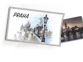 Pohled s dárkem Praha Karlův most kreslený