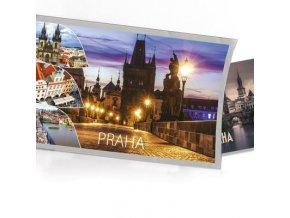 Pohled s dárkem Praha - noční Karlův most