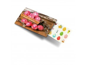 Pohled s dárkem: Veselé Velikonoce - červená vajíčka