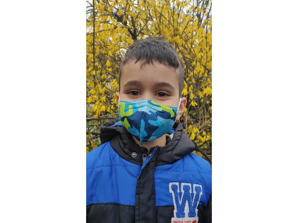 Balerina Respirátor FFP2 dětský S - modrý maskáč 4 kusy