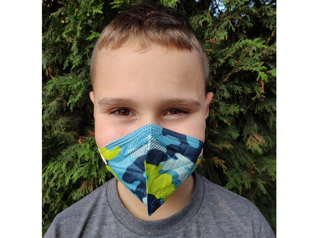 Balerina Respirátor FFP2 dětský M - modrý maskáč 4 kusy