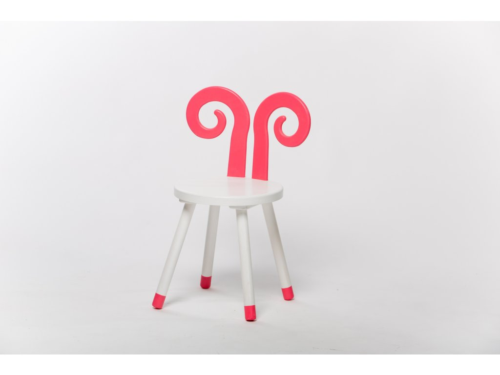 dětská židle BERAN - bílá/růžová