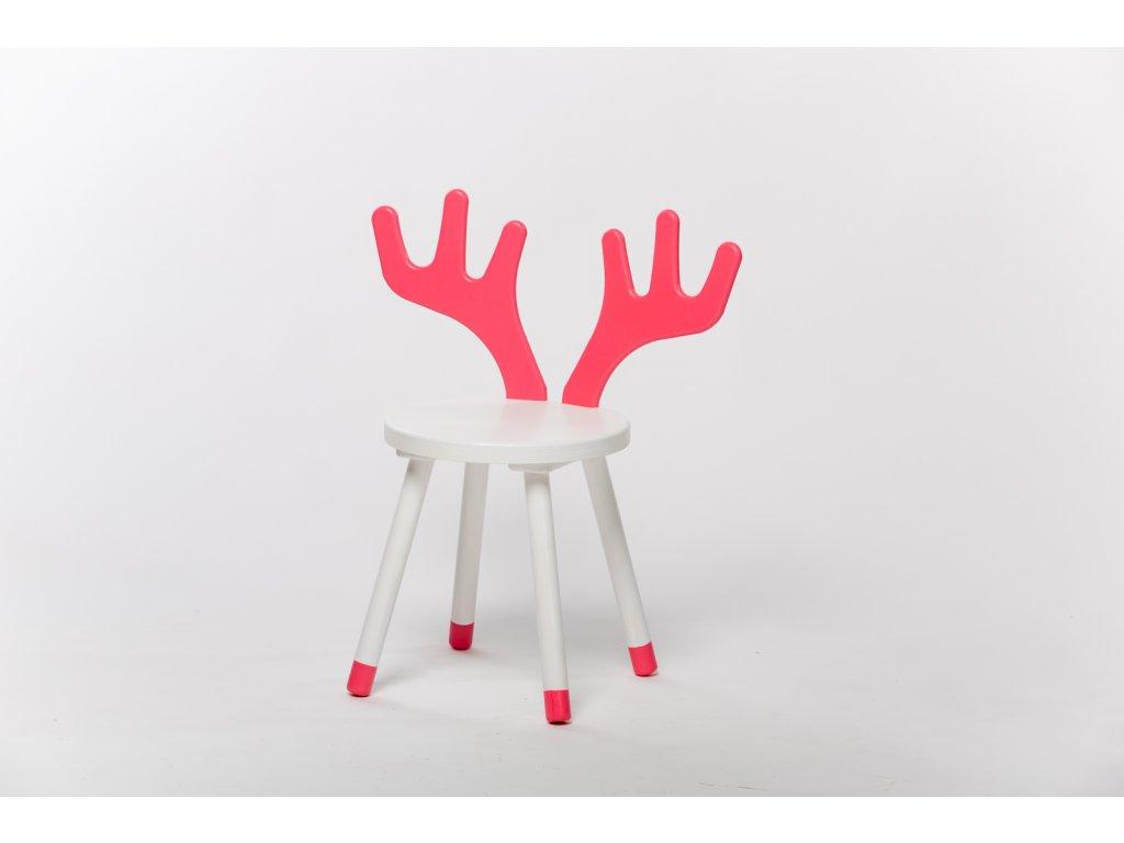 dětská židle JELEN - bílá/růžová