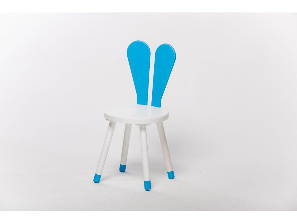 dětská židle ZAJÍC - bílá/modrá