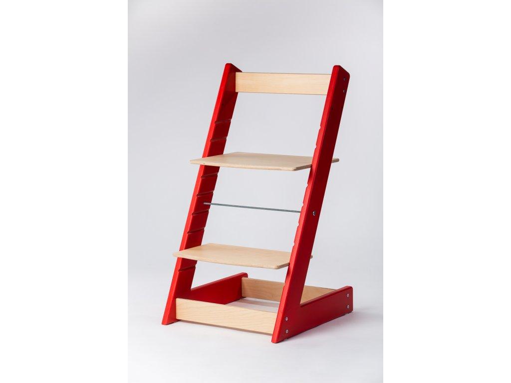 rostoucí židle ALFA I - PRIME červená/přírodní