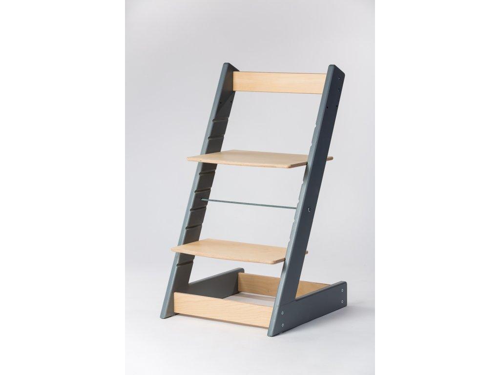rostoucí židle ALFA I - PRIME šedá/přírodní