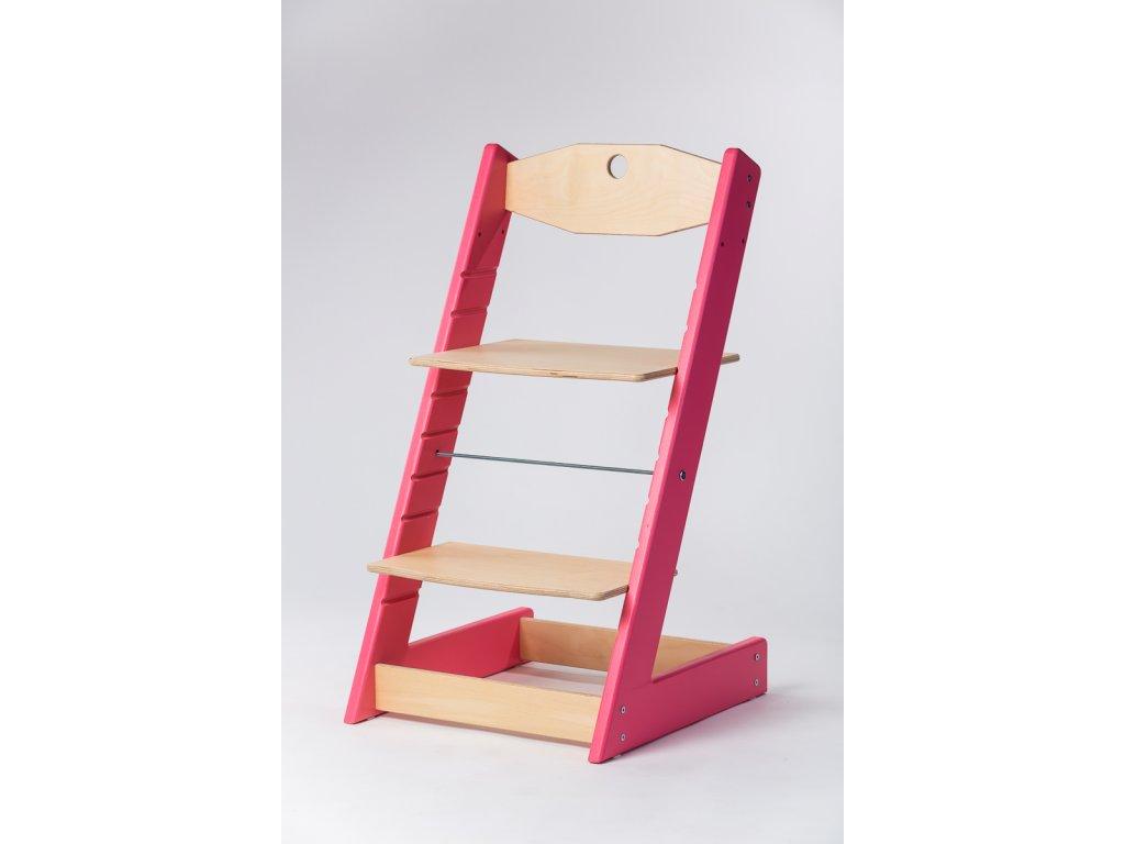 rostoucí židle ALFA II - PRIME růžová/přírodní