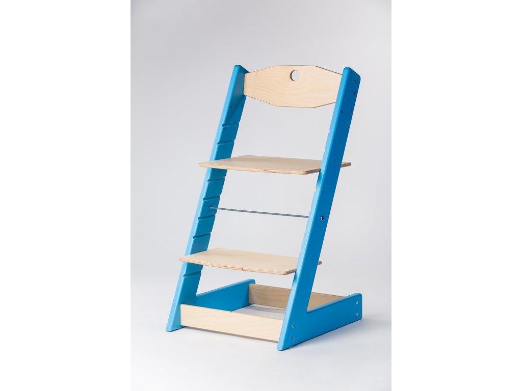 rostoucí židle ALFA II - PRIME modrá/přírodní