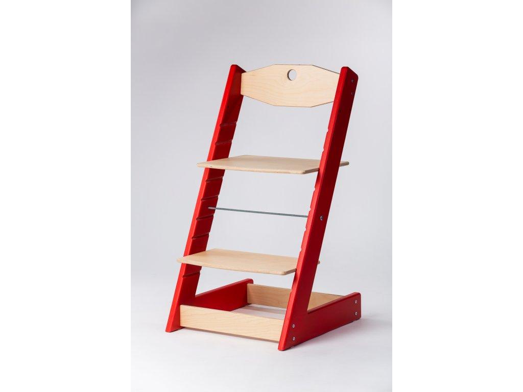 rostoucí židle ALFA II - PRIME červená/přírodní