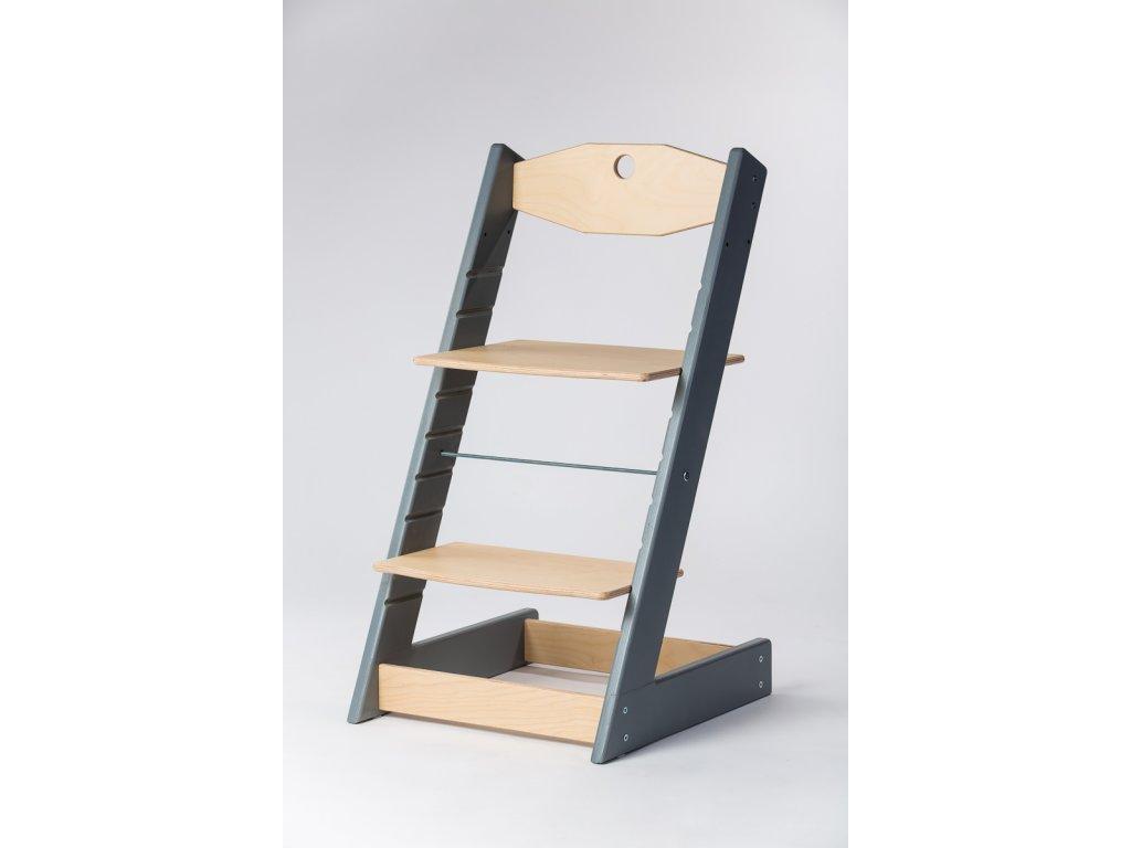 rostoucí židle ALFA II - PRIME šedá/přírodní