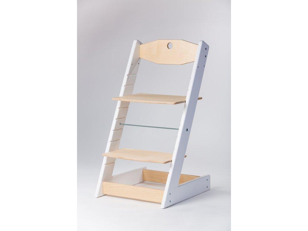 rostoucí židle ALFA II - PRIME bílá/přírodní