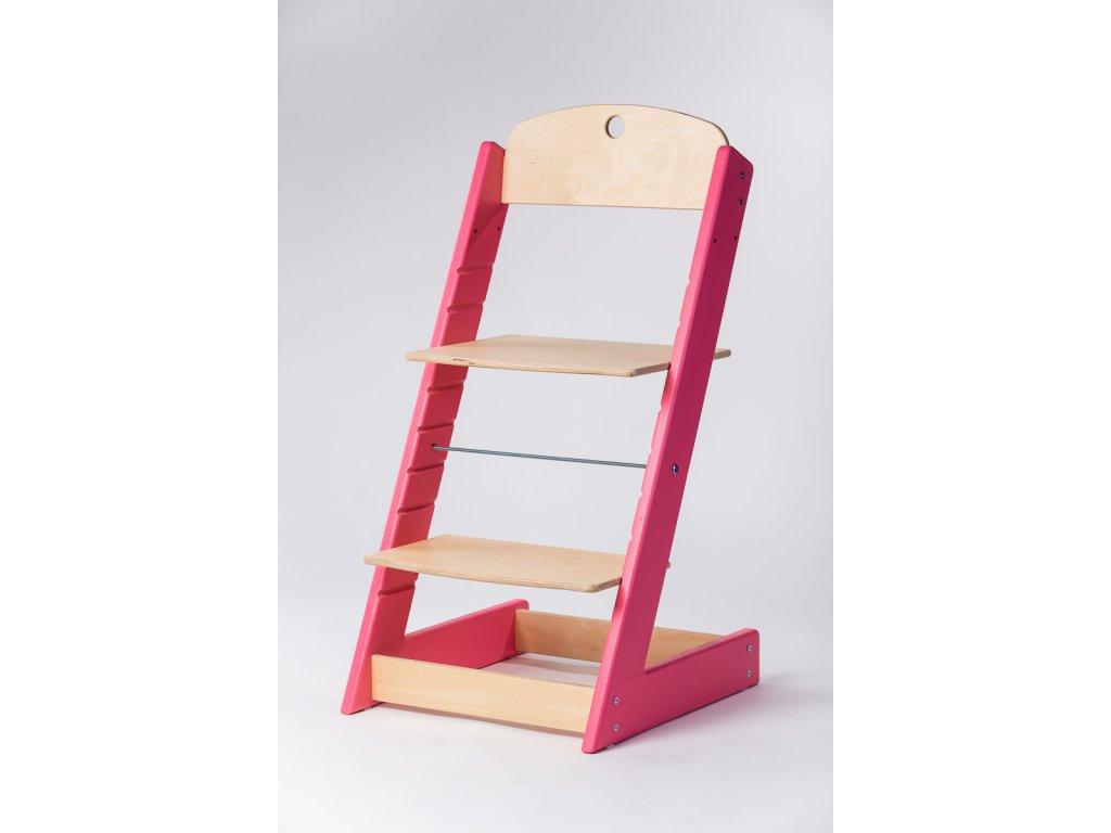 rostoucí židle ALFA III - PRIME růžová/přírodní