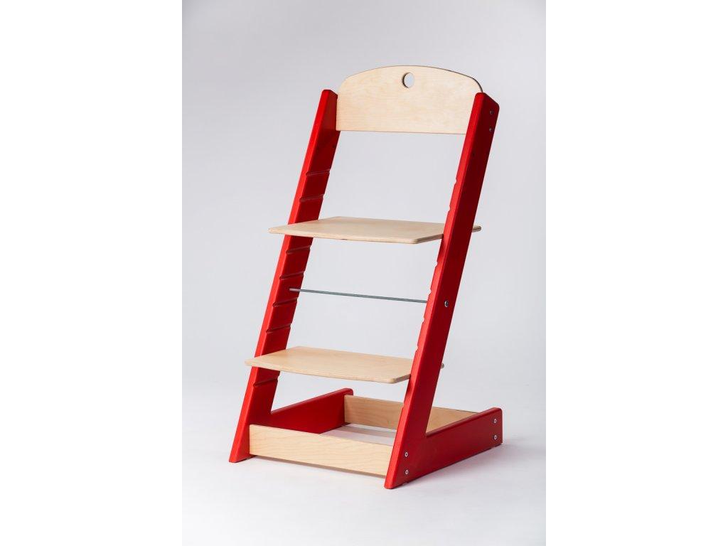 rostoucí židle ALFA III - PRIME červená/přírodní