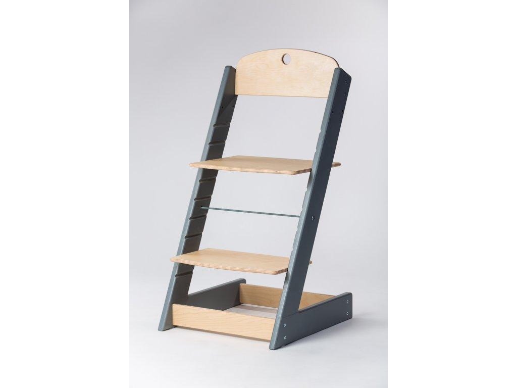 rostoucí židle ALFA III - PRIME šedá/přírodní