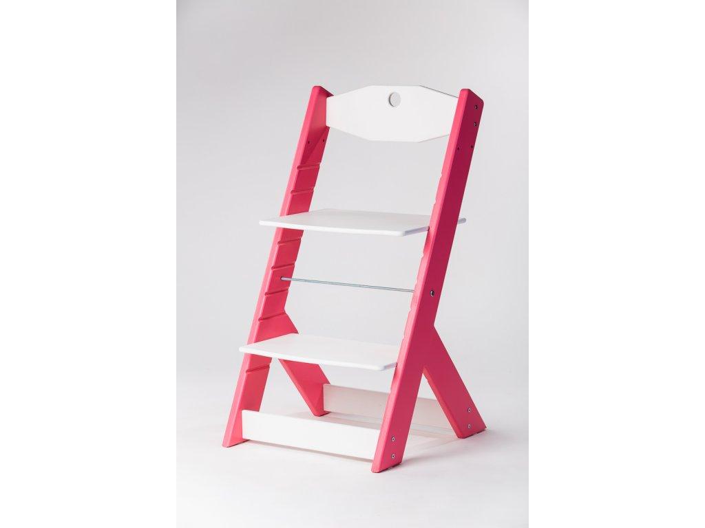 rostoucí židle OMEGA II - PRIME růžová/bílá
