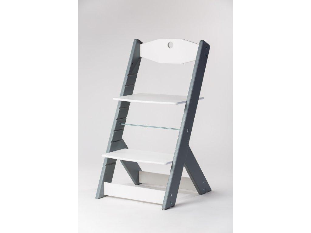 rostoucí židle OMEGA II - PRIME šedá/bílá