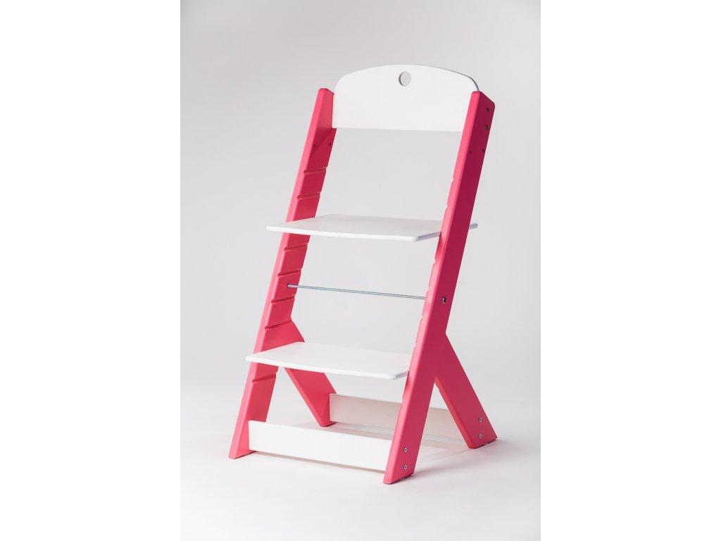 rostoucí židle OMEGA III - PRIME růžová/bílá