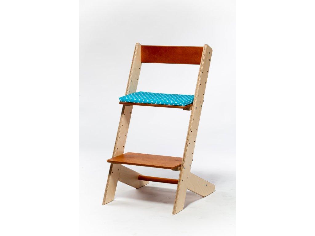 Molitanový podsedák k rostoucím židlím ALFA a OMEGA - tyrkysový a puntíky