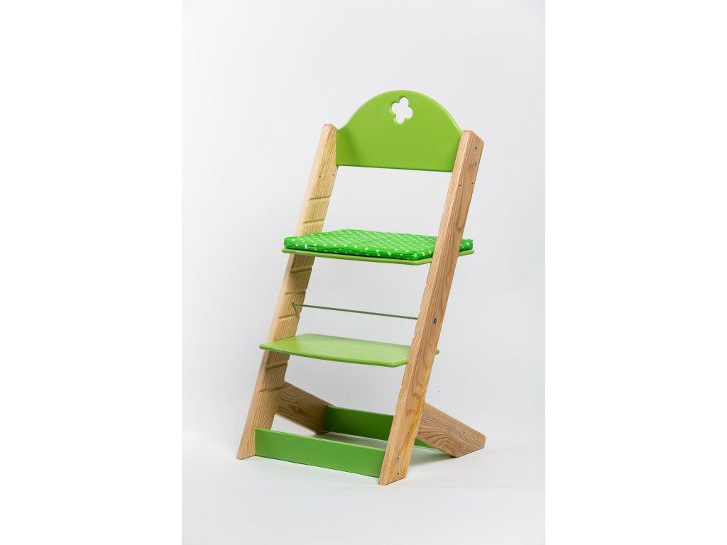 Molitanový podsedák k rostoucím židlím ALFA a OMEGA - zelený s puntíky