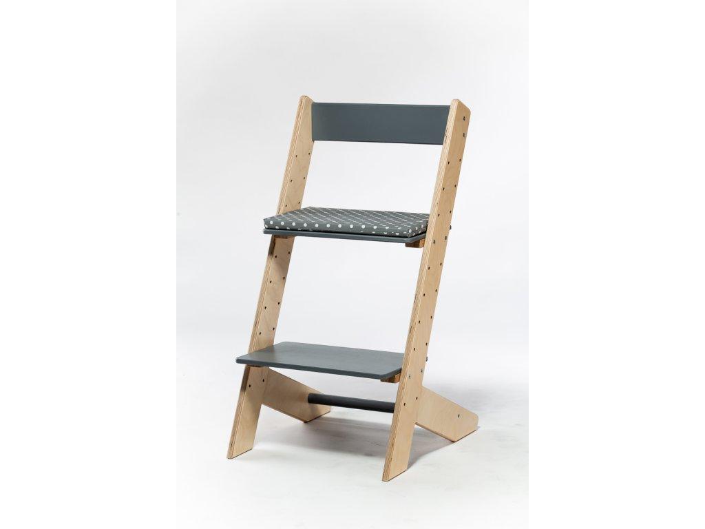 Molitanový podsedák k rostoucím židlím ALFA a OMEGA - šedý s puntíky