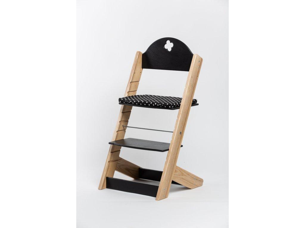 Molitanový podsedák k rostoucím židlím ALFA a OMEGA - černý s puntíky