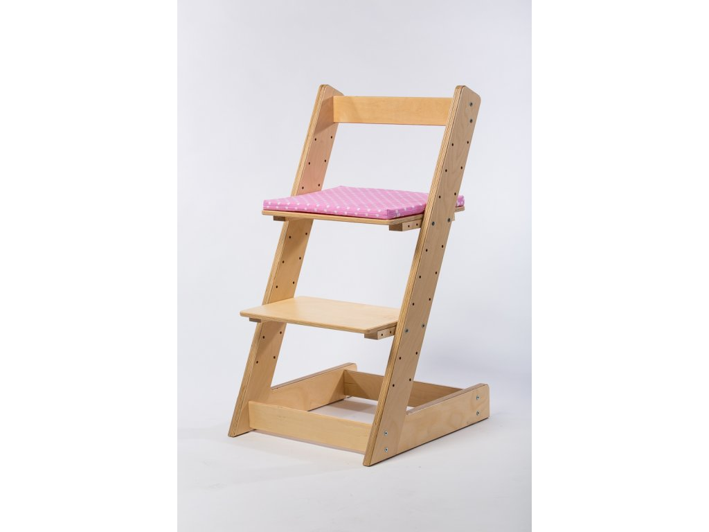 Molitanový podsedák k rostoucím židlím ALFA a OMEGA - světle růžový s puntíky