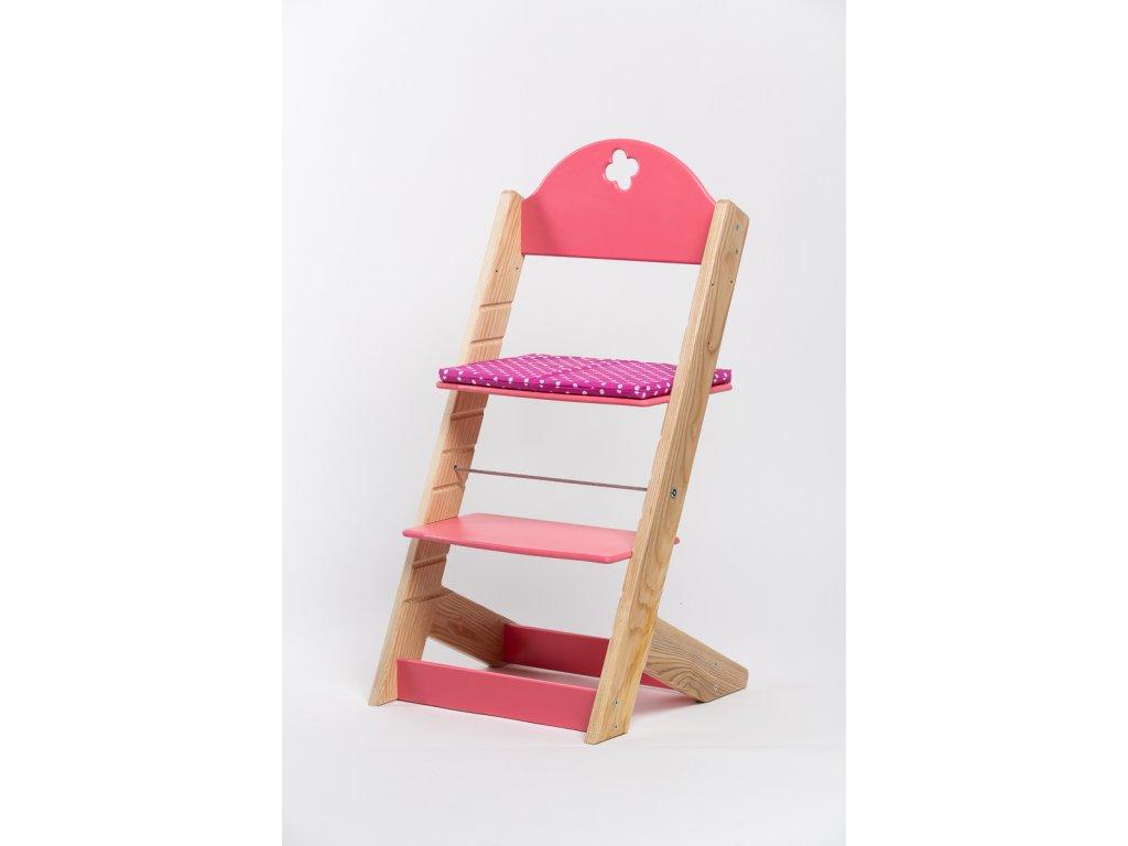 Molitanový podsedák k rostoucím židlím ALFA a OMEGA -tmavě růžový s puntíky
