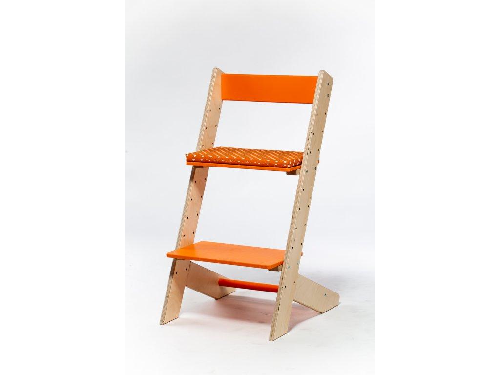 Molitanový podsedák k rostoucím židlím ALFA a OMEGA - oranžový s puntíky