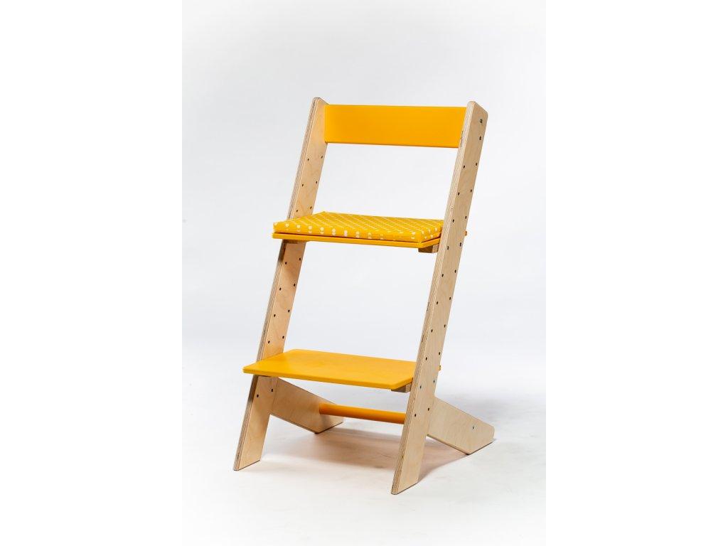 Molitanový podsedák k rostoucím židlím ALFA a OMEGA - žlutý s puntíky