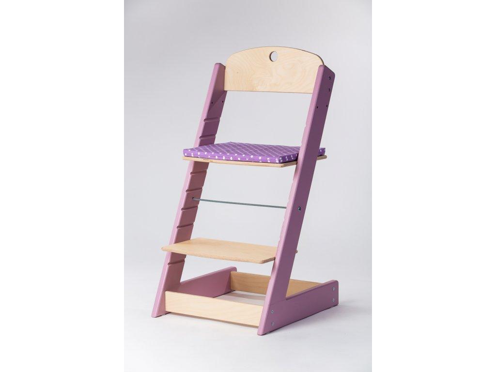 Molitanový podsedák k rostoucím židlím ALFA a OMEGA - PRIME - lila s puntíky