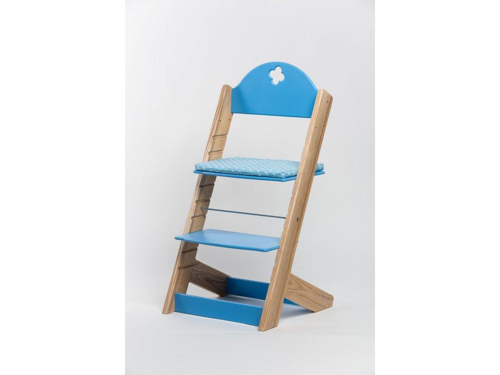 Molitanový podsedák k rostoucím židlím ALFA a OMEGA - PRIME - modrý s puntíky
