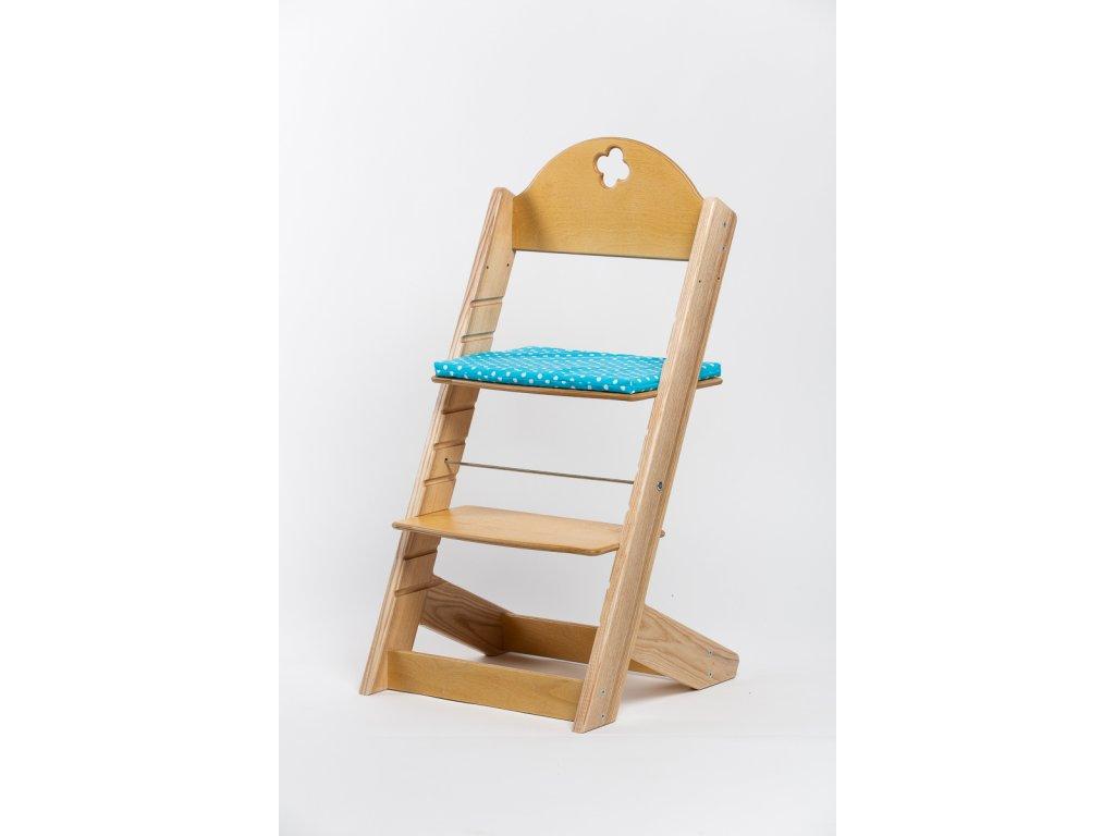 Molitanový podsedák k rostoucím židlím ALFA a OMEGA - PRIME - tyrkysový s puntíky
