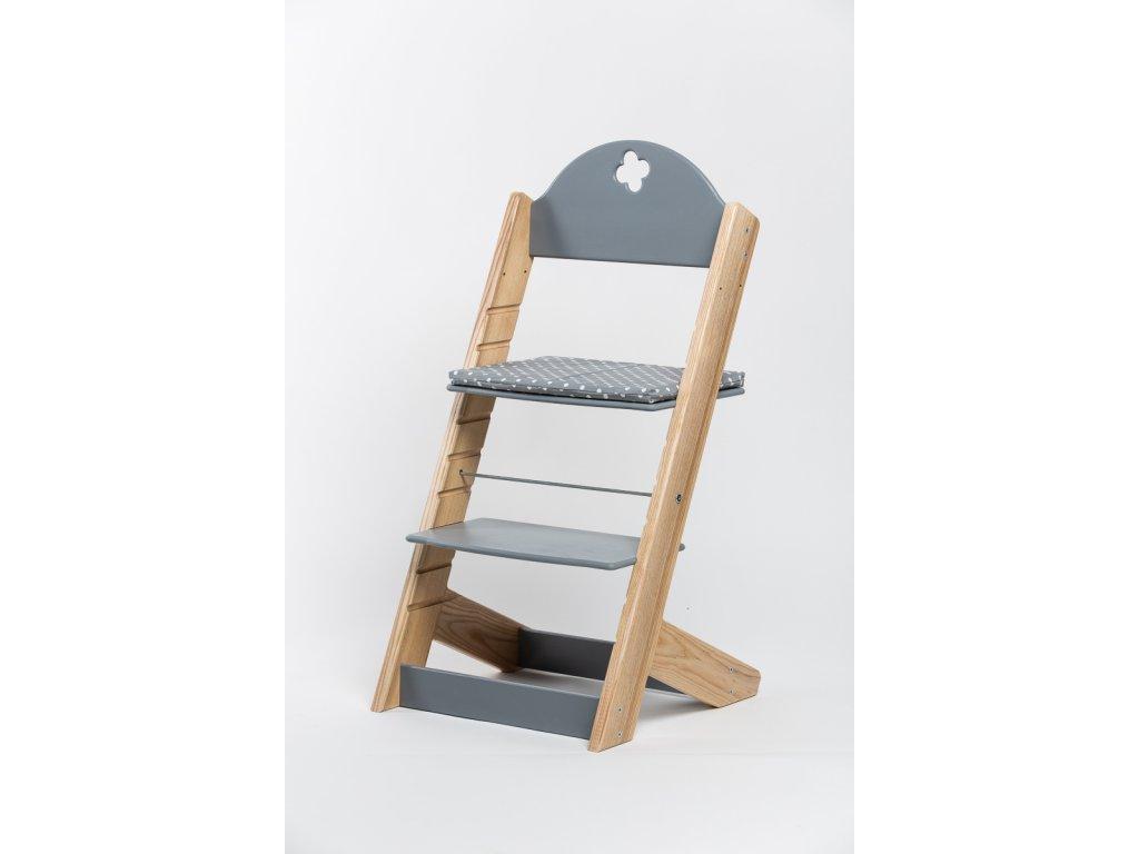 Molitanový podsedák k rostoucím židlím ALFA a OMEGA - PRIME - šedý s puntíky
