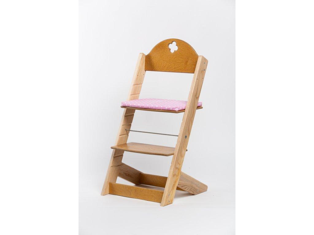 Molitanový podsedák k rostoucím židlím ALFA a OMEGA - PRIME - světle růžový s puntíky