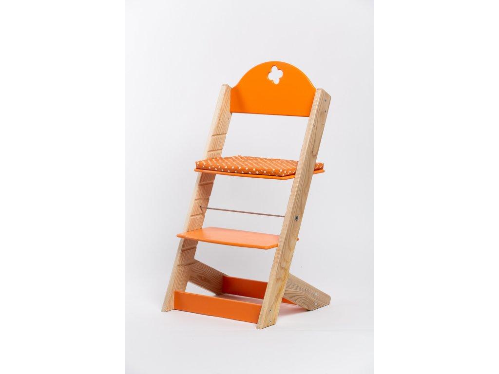 Molitanový podsedák k rostoucím židlím ALFA a OMEGA - PRIME - oranžový s puntíky