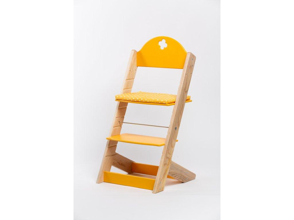 Molitanový podsedák k rostoucím židlím ALFA a OMEGA - PRIME - žlutý s puntíky