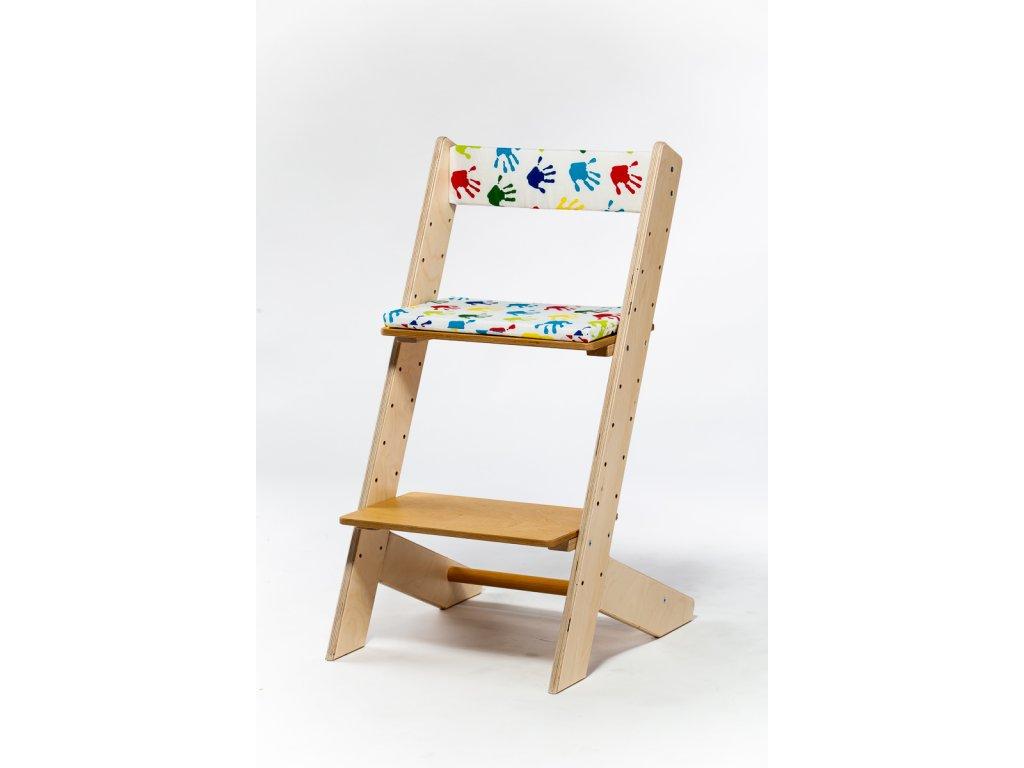 Molitanová opěrka k rostoucím židlím ALFA a OMEGA - obtisky ručiček