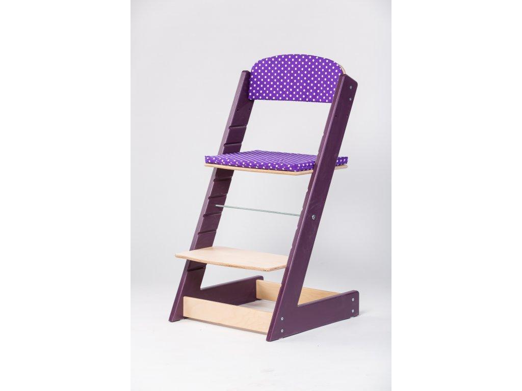 Molitanová opěrka k rostoucím židlím ALFA a OMEGA - fialová s puntíky