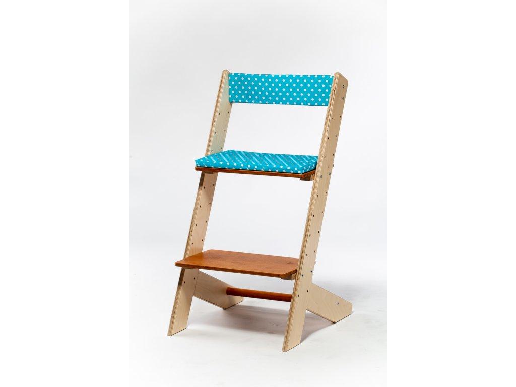 Molitanová opěrka k rostoucím židlím ALFA a OMEGA - tyrkysová s puntíky