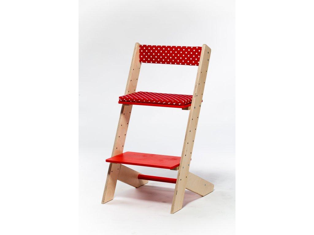 Molitanová opěrka k rostoucím židlím ALFA a OMEGA - červená s puntíky