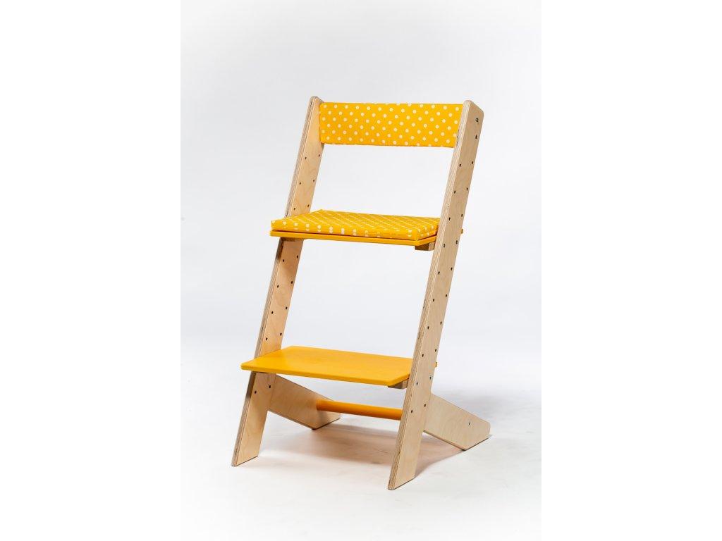 Molitanová opěrka k rostoucím židlím ALFA a OMEGA - žlutá s puntíky