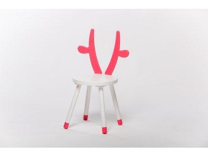 dětská židle KRÁVA - bílá/růžová