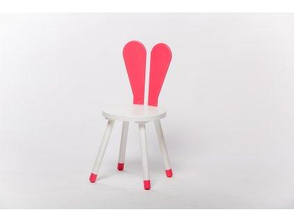 dětská židle ZAJÍC - bílá/růžová