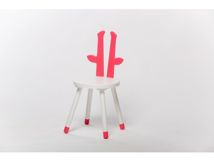 dětská židle ŽIRAFA - bílá/růžová
