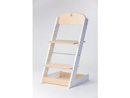 rostoucí židle ALFA III - PRIME bílá/přírodní